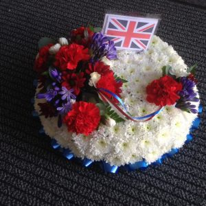 Posy Pad from £20 White and Green Coffin Top Posy Pad from Urban Flowers Southport
