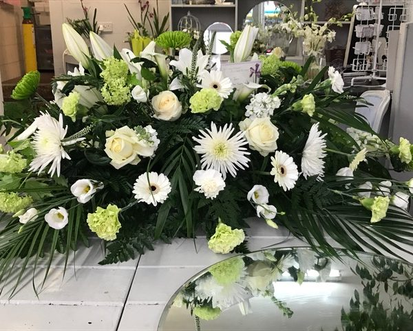 White and Green Coffin Top Posy Pad from Urban Flowers Southport